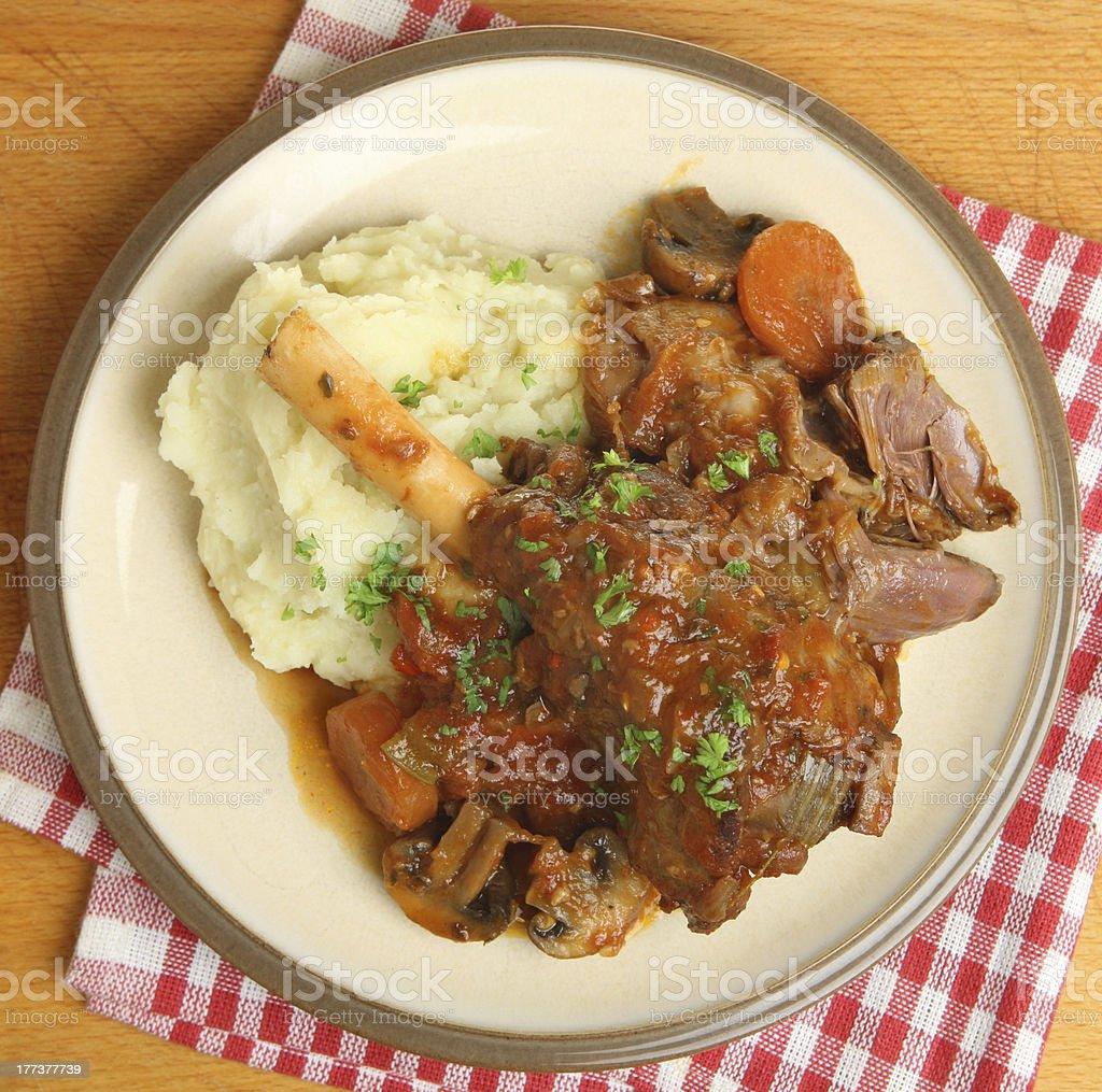 Braised Lamb Shank with Mashed Potato royalty-free stock photo