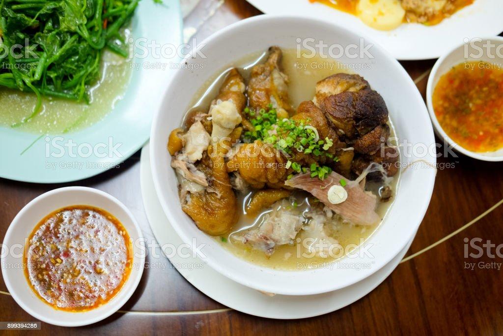 Braised pork leg stewed in the gravy Chinese food Yunnan style. stock photo