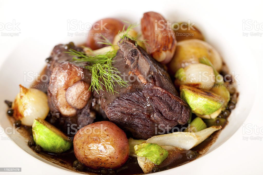 Braised Short Ribs & Roasted Vegetables stock photo