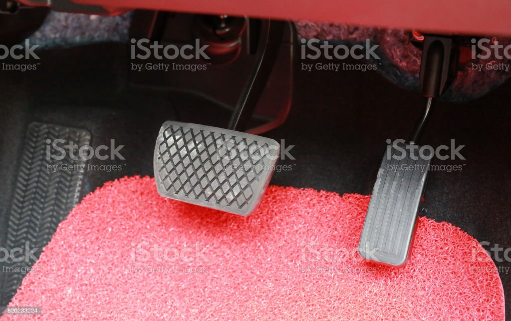 Brake and accelerator pedal of automatic transmission car. stock photo