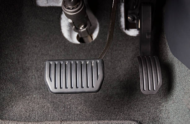 Brake and accelerator pedal Brake and accelerator pedal of automatic transmission car vehicle clutch stock pictures, royalty-free photos & images