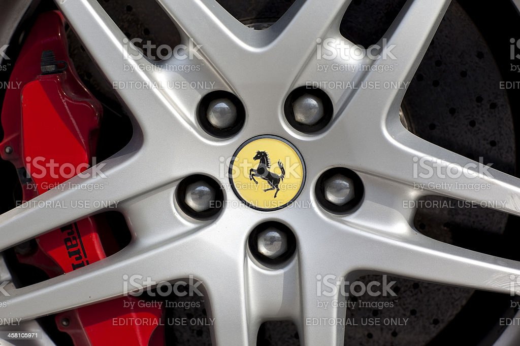 Brake disc and alloy of a Ferrari stock photo