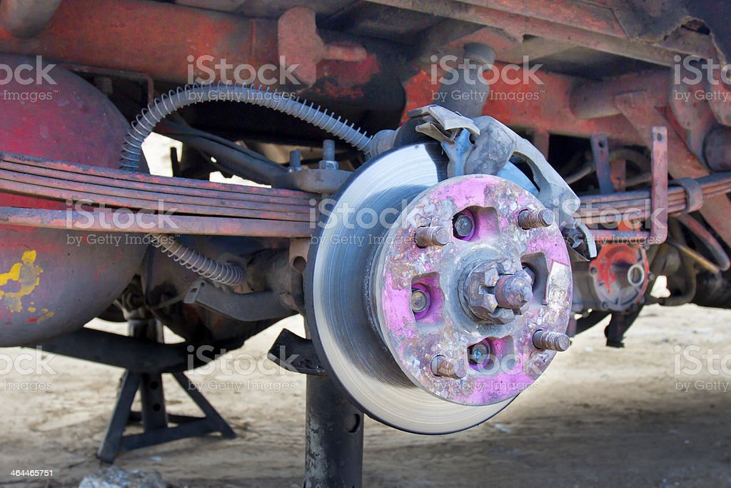 brake disc and leaf spring of old car royalty-free stock photo