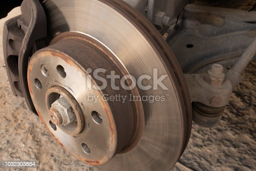 Brake disc, caliper and ball joint of a car