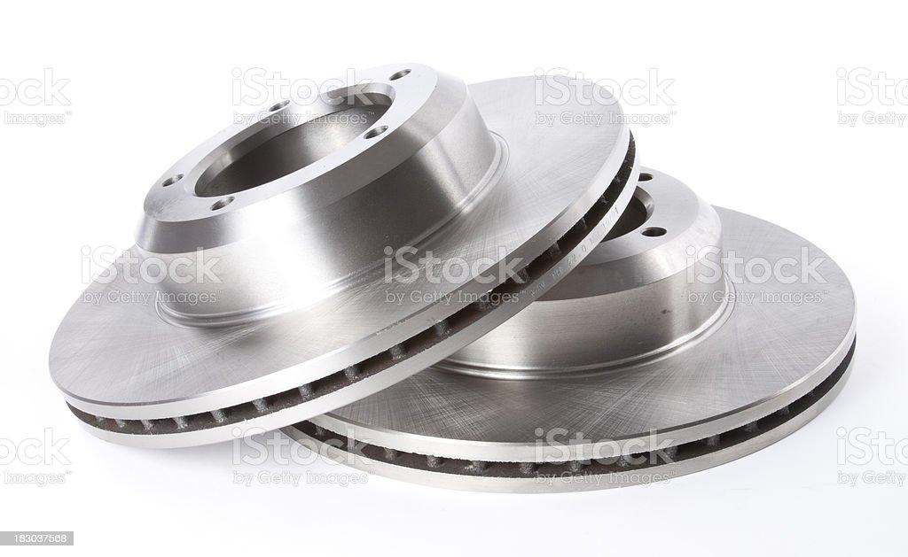 Brake Discs on White Background royalty-free stock photo