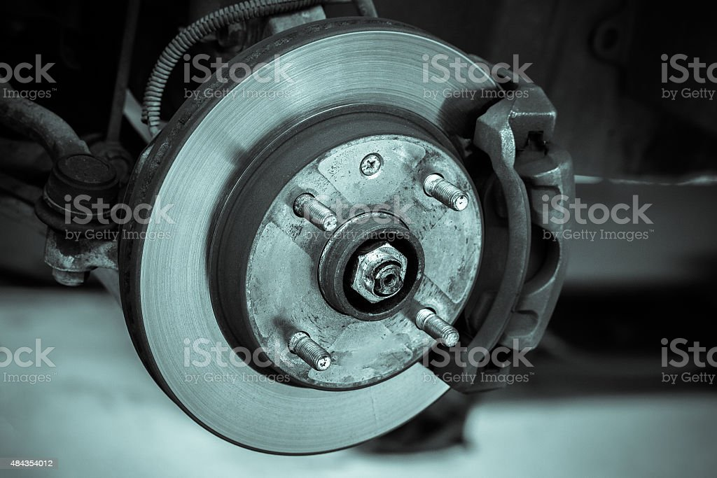 brake disk and detail of the whee stock photo