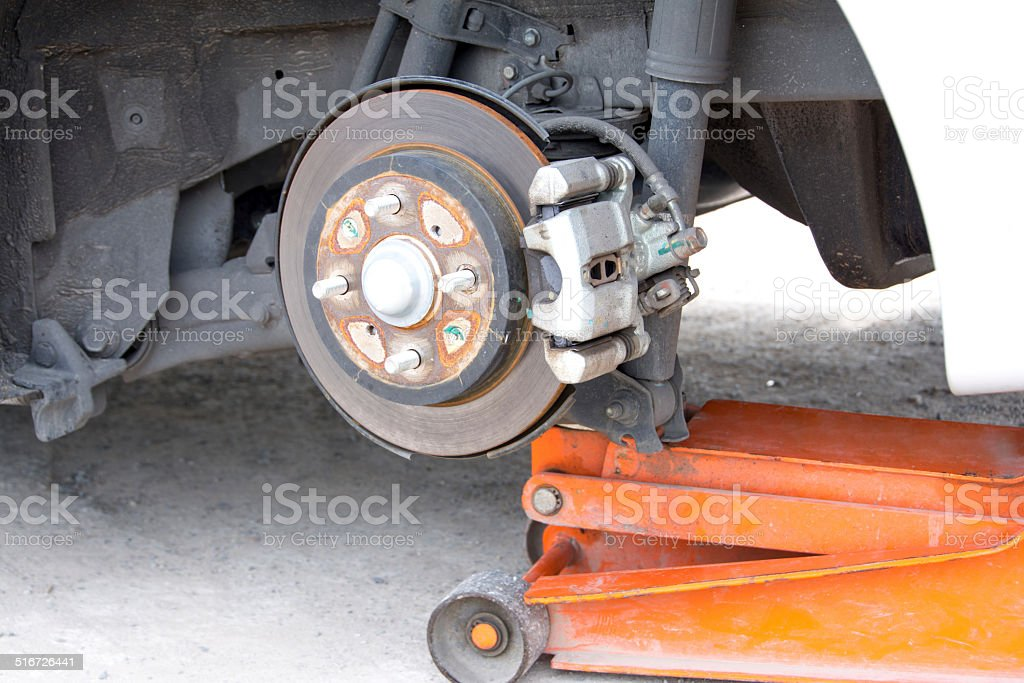 brake disk and detail of the wheel hub stock photo