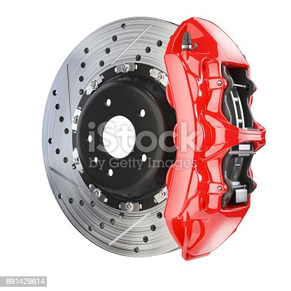 istock Brake disk and red caliper. Brakes system 691429614