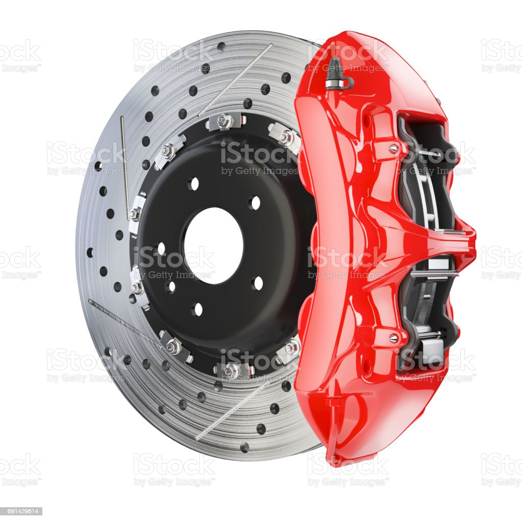 Brake disk and red caliper. Brakes system stock photo
