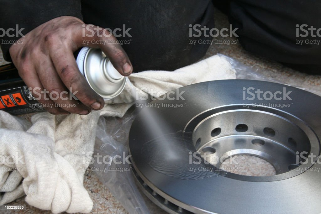 Brake disk cleaner stock photo