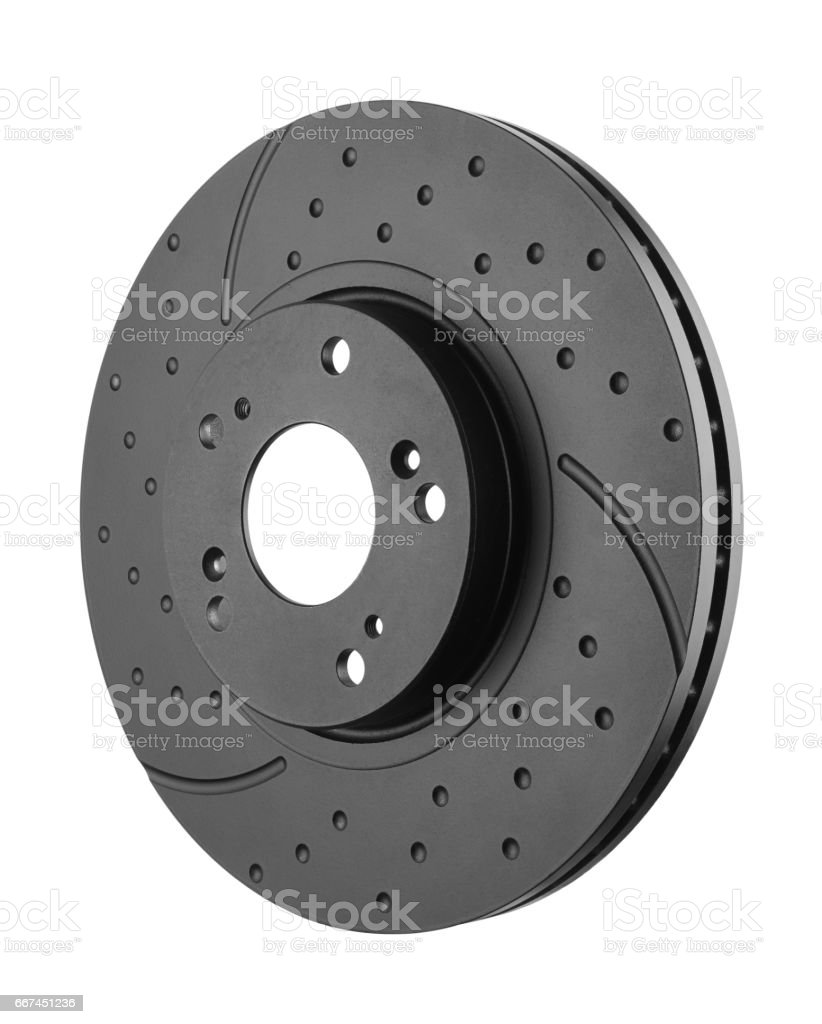 Brake disk on white background stock photo