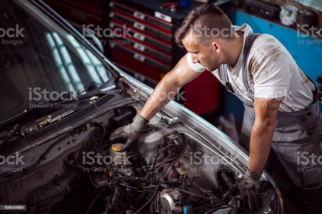 Brake fluid check up stock photo