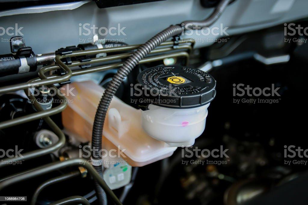 Brake fluid reservoir stock photo
