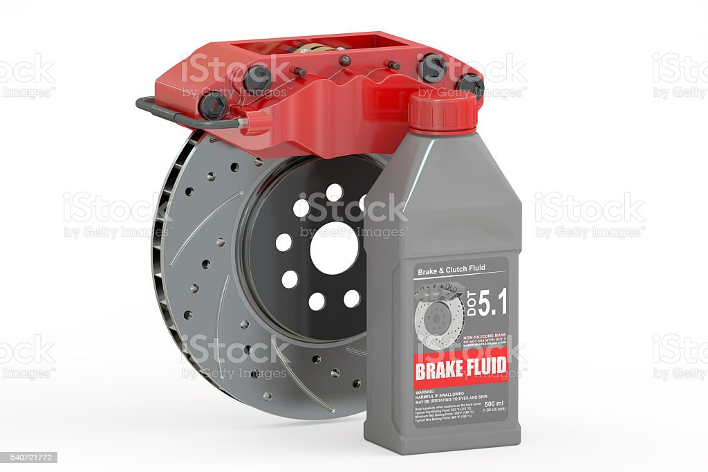 Brake Fluid with Disc Brake, 3D rendering stock photo