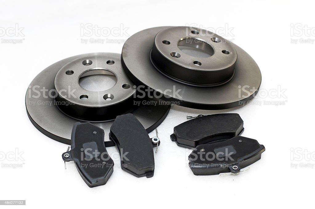 Brake pads and brake discs stock photo