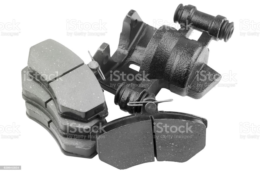 Brake pads and caliper car stock photo