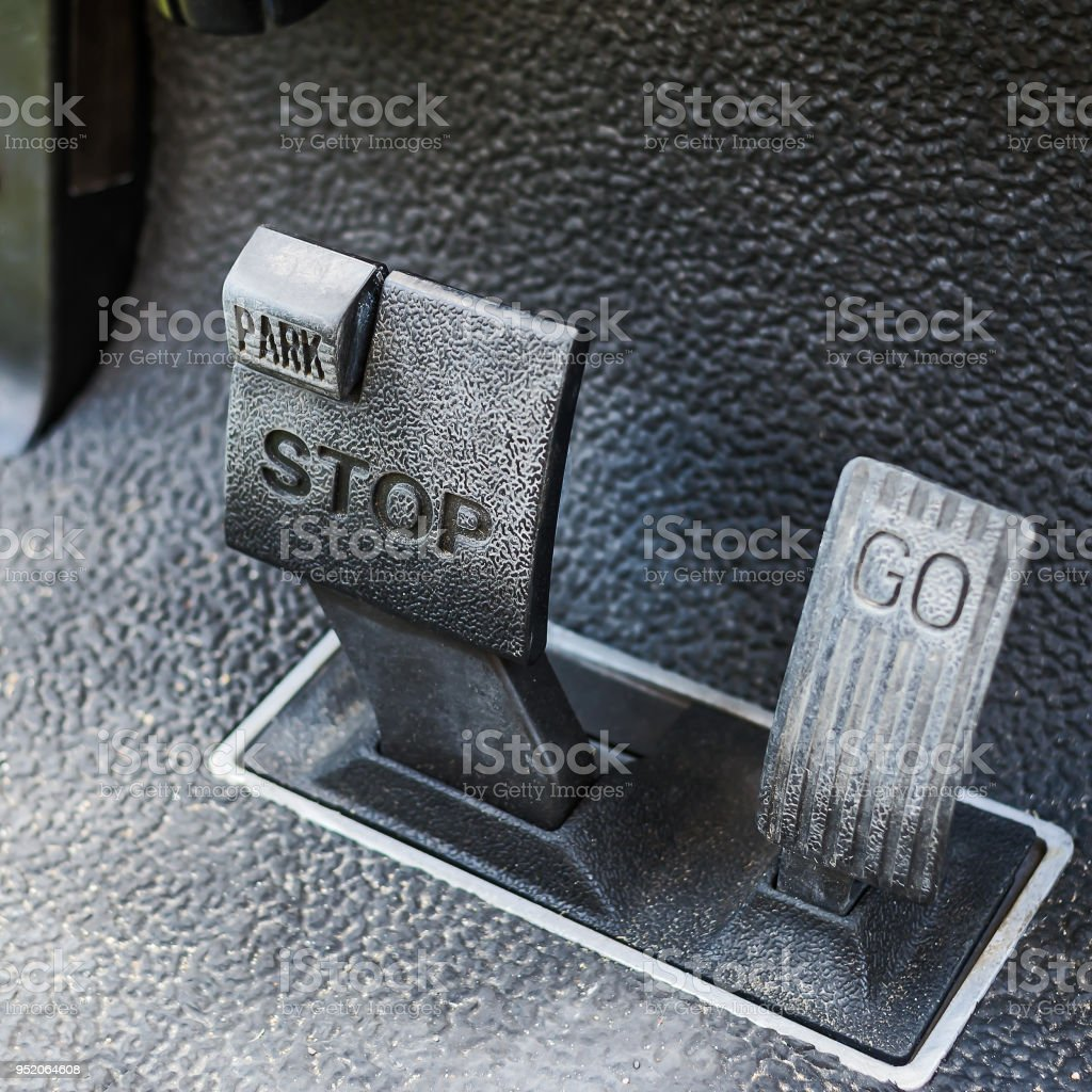 Brake pedal and accelerator. stock photo