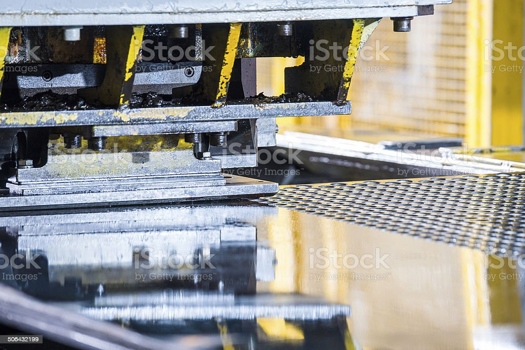 Brake press in a metal manufacturing factory. stock photo