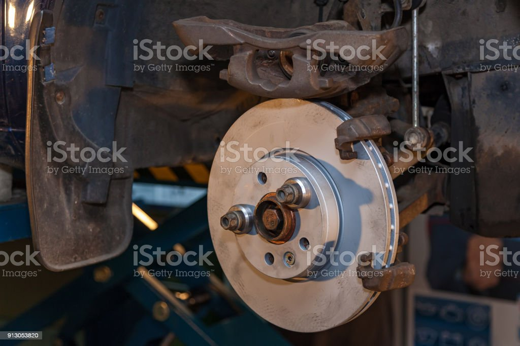 Brake repair stock photo