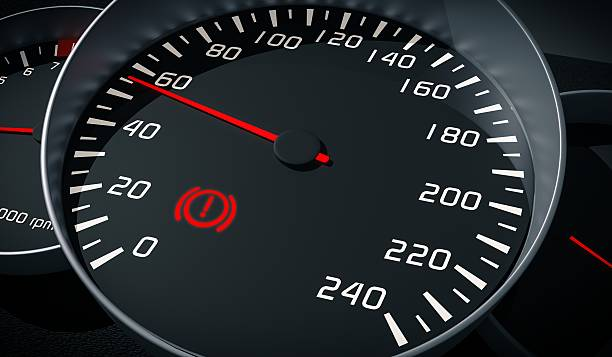 Brake system warning light in car dashboard. 3D rendered illustration. stock photo