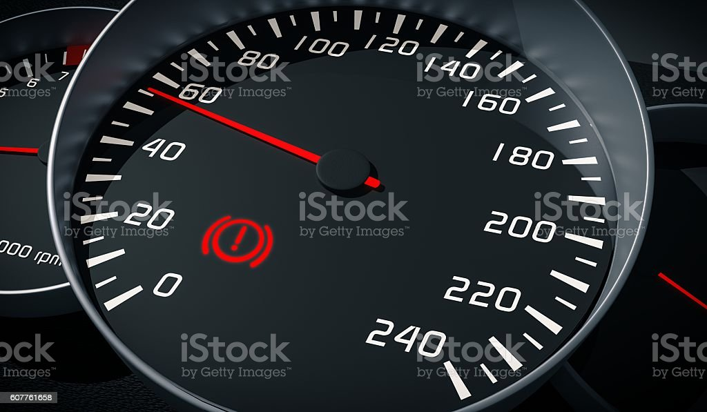 Brake system warning light in car dashboard. 3D rendered illustration. stock photo