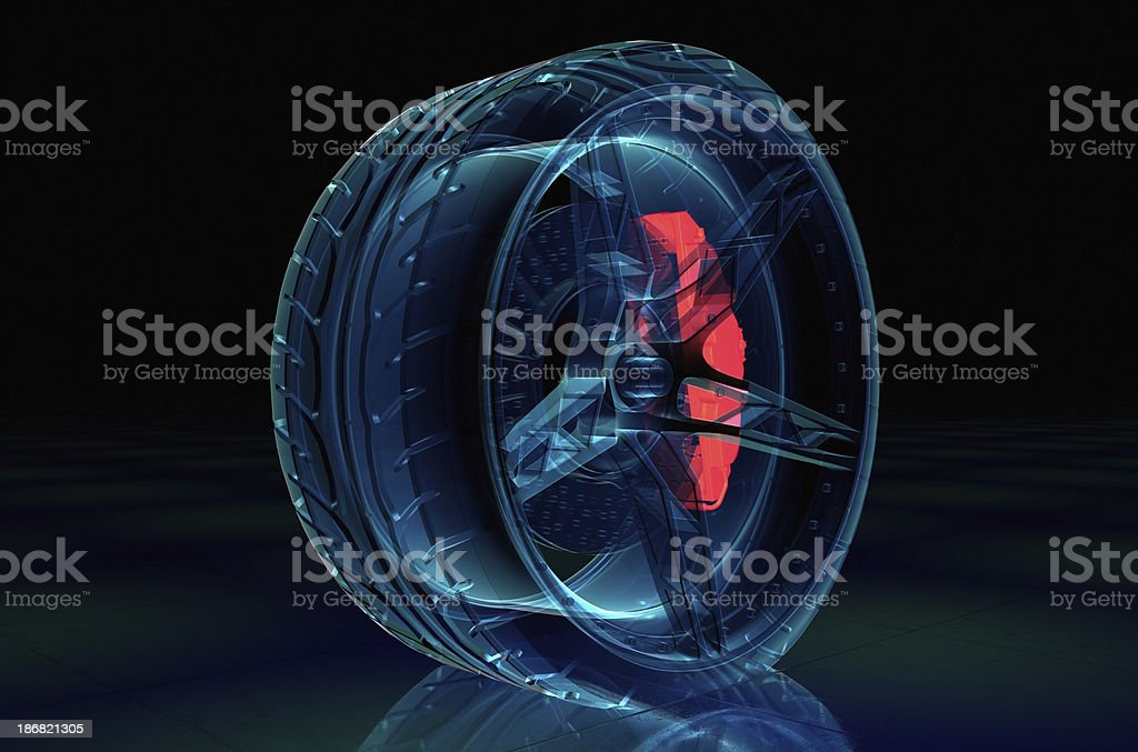 Brake System with tyre and rim X-ray style royalty-free stock photo