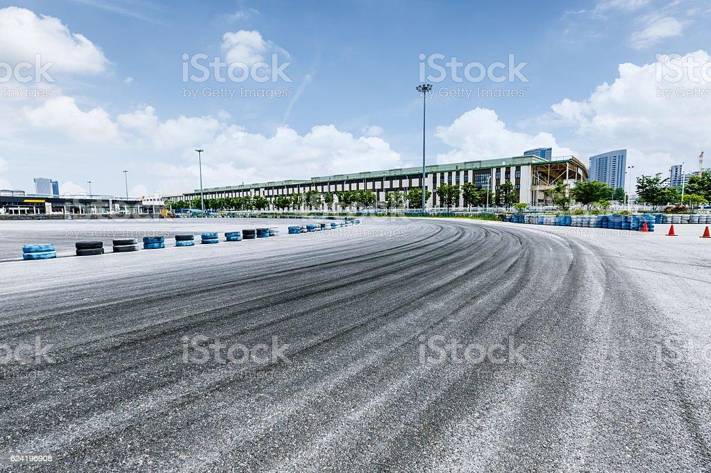 brake trajectory on the asphalt road stock photo