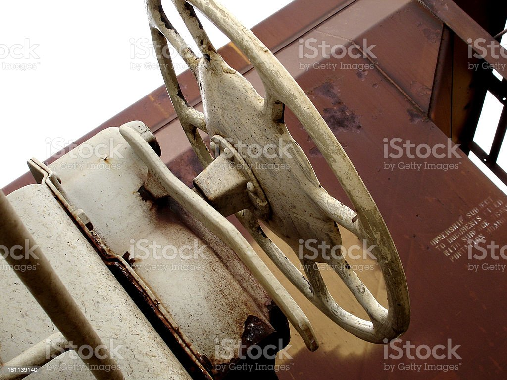 Brake wheel on train car stock photo