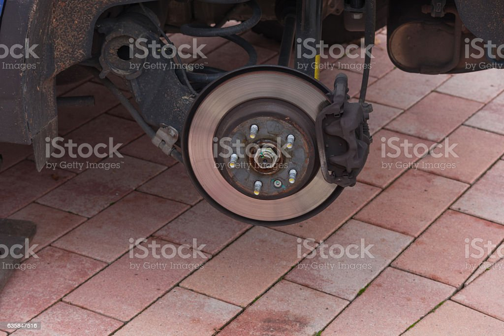 Braking system of an off-road vehicle stock photo