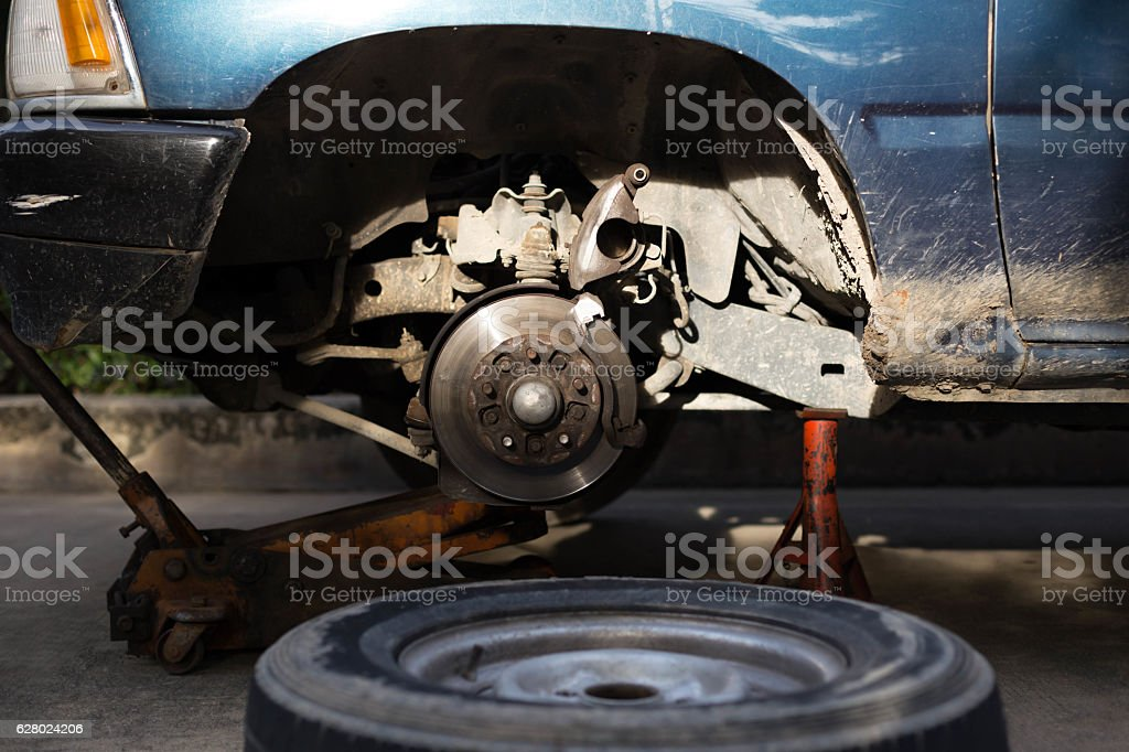 Braking system with disk open for repair maintenance stock photo
