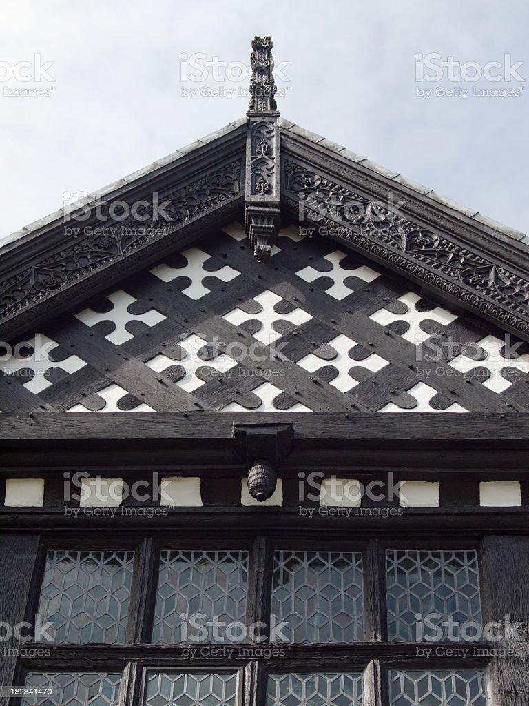 Bramhall Hall  Tudor 4th century timber framed house quatrefoil detail royalty-free stock photo
