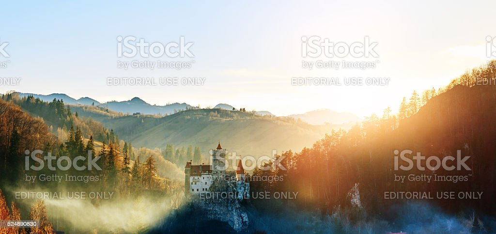 Bran Castle in the sunset stock photo