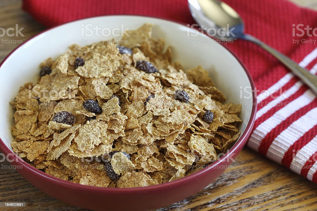 Bran Cereal in Red Bowl stock photo