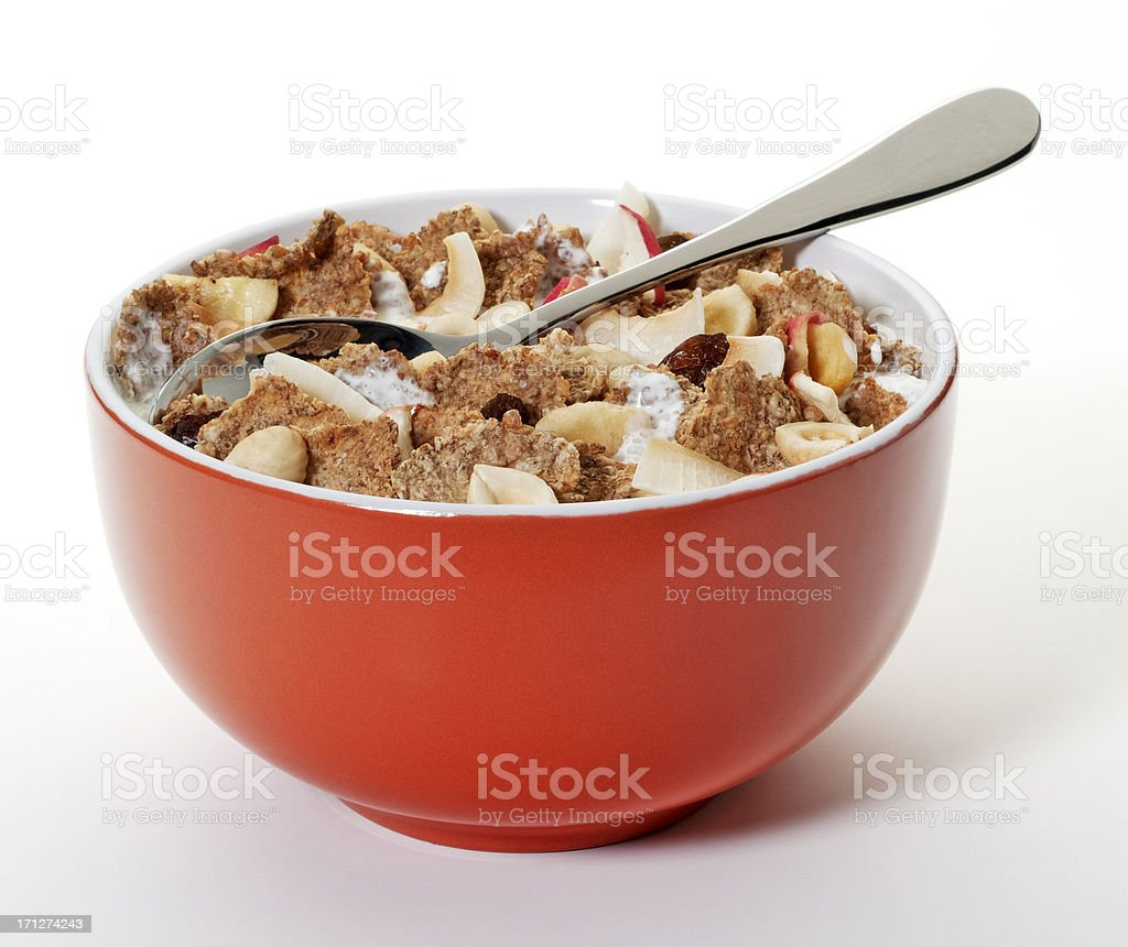Bran flakes with dried fruits stock photo