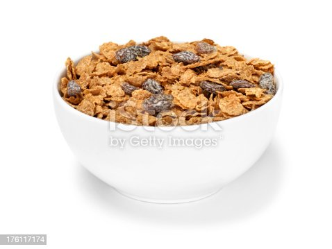 Bran Flakes with Raisins Breakfast Cereal -Photographed on Hasselblad H1-22mb Camera
