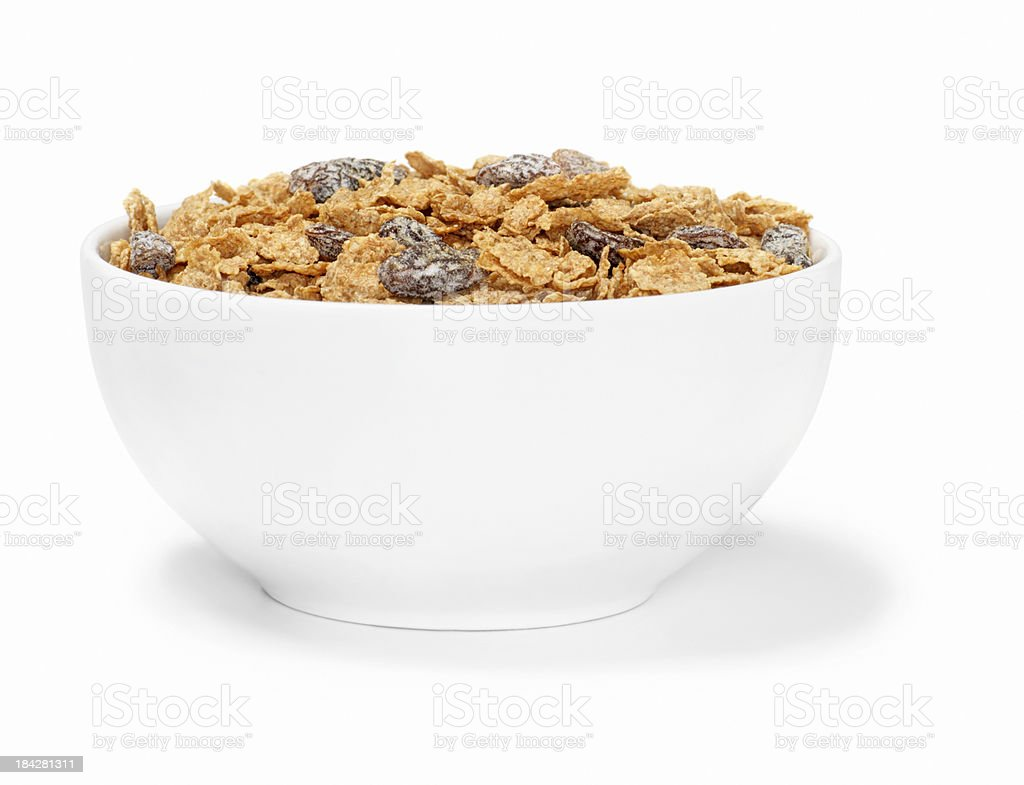 Bran Flakes with Raisins Breakfast Cereal stock photo