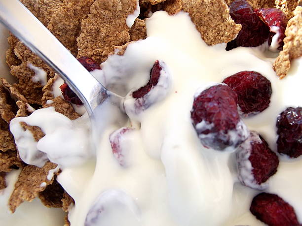 Bran Flakes, Yoghurt and Cranberries Close Up stock photo