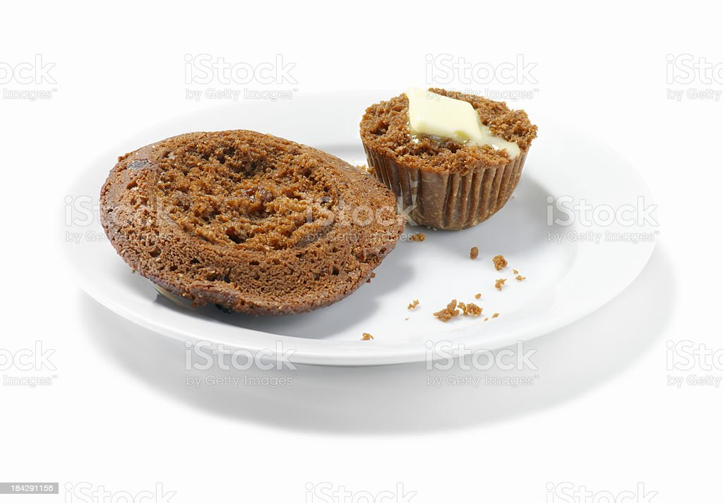 Bran Muffin with Melted Butter stock photo