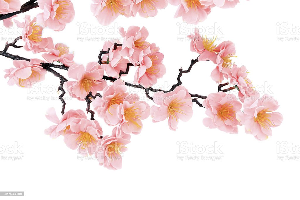 Branch of blooming artificial pink flowers. royalty-free stock photo