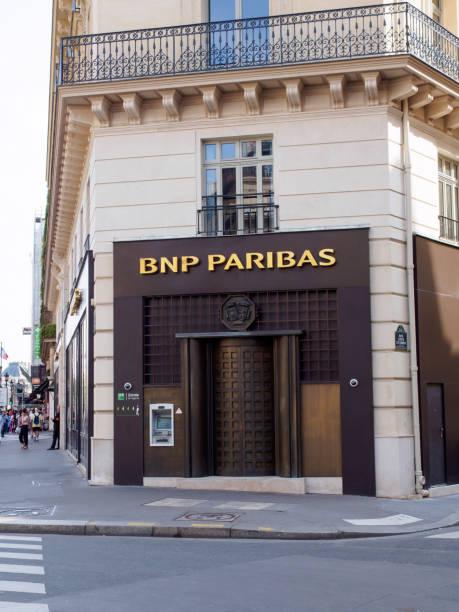 Branch of BNP Paribas bank near Opera, Paris, France stock photo
