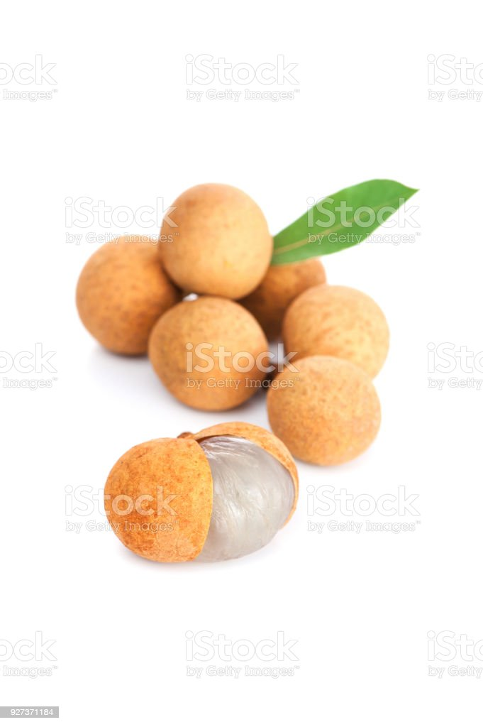 Branch of fresh ripe longan with green leaf - Royalty-free Asia Stock Photo