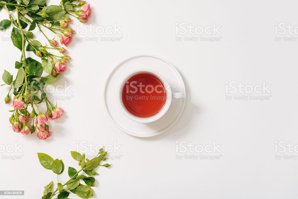 Branch of roses lying near the tea cup stock photo