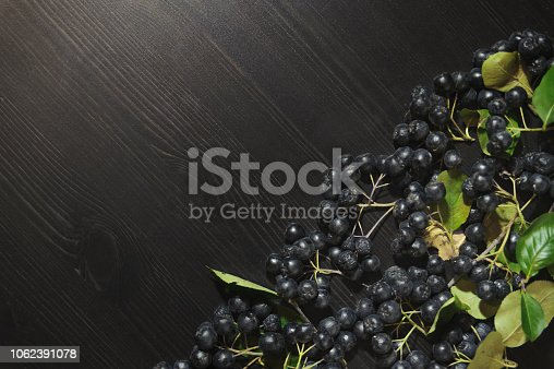 istock Branches black chokeberry berries ( Aronia melanocarpa ) on dark table. Autumn pattern. 1062391078
