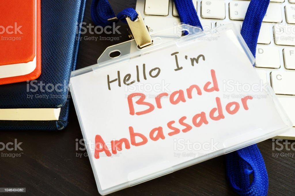 Brand ambassador badge on a keyboard. stock photo
