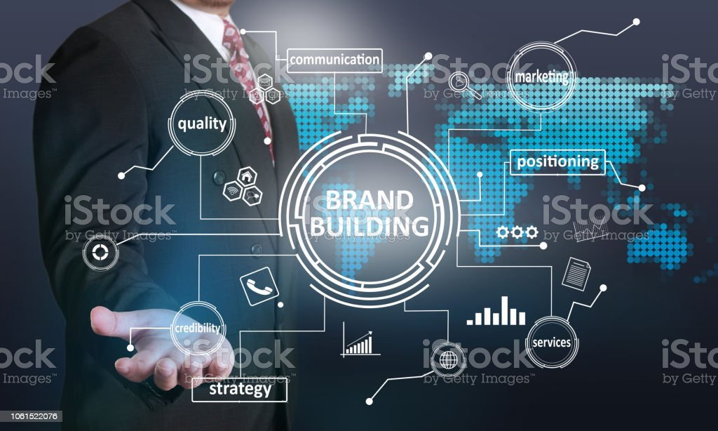 brand building business marketing words quotes concept stock photo