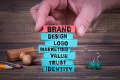 istock Brand Business Concept With Colorful Wooden Blocks 971373744