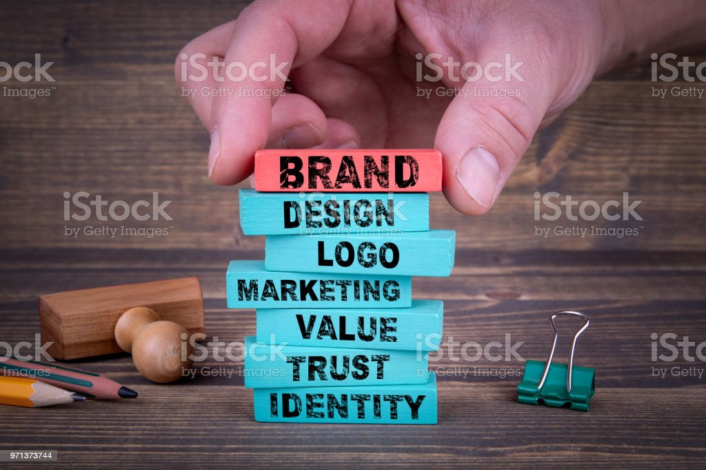 Brand Business Concept With Colorful Wooden Blocks stock photo
