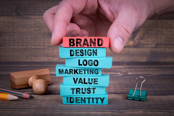 brand business concept with colorful wooden blocks - advertisement stock photos and pictures