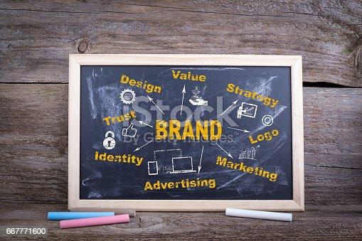 istock Brand concept. Chalk board Background 667771600
