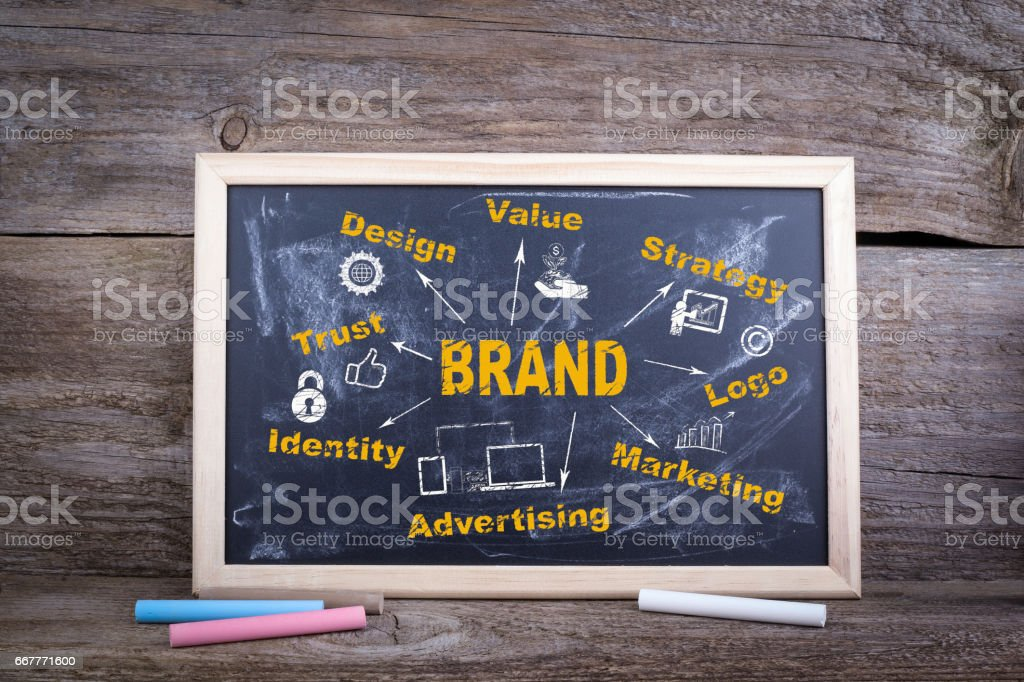 Brand concept. Chalk board Background stock photo